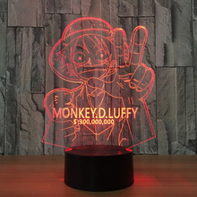 One Piece 3D LED Night Light 7 Colors Changing Lamp