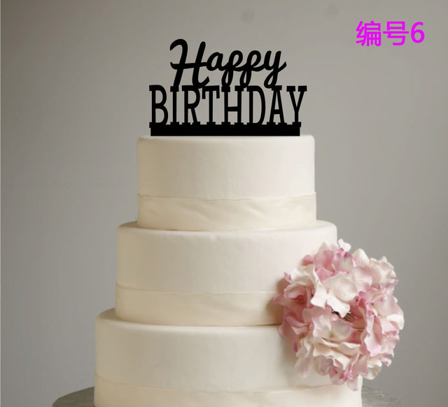 New Design Letter Happy Birthday Acrylic Cake Topper Black Color For Decorations Party Supplies