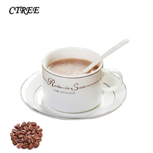 CTREE 150ml Ceramic Coffee Cup Bone Fine Chinese Coffee Cup With Dish Spoon Set Home Office Afternoon Tea Mug Cup Capacity C871