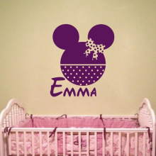 Customized Name Personaized Kids Room Wall Sticker Minnie Head Decals Removable Vinyl Mouse Art AY1905