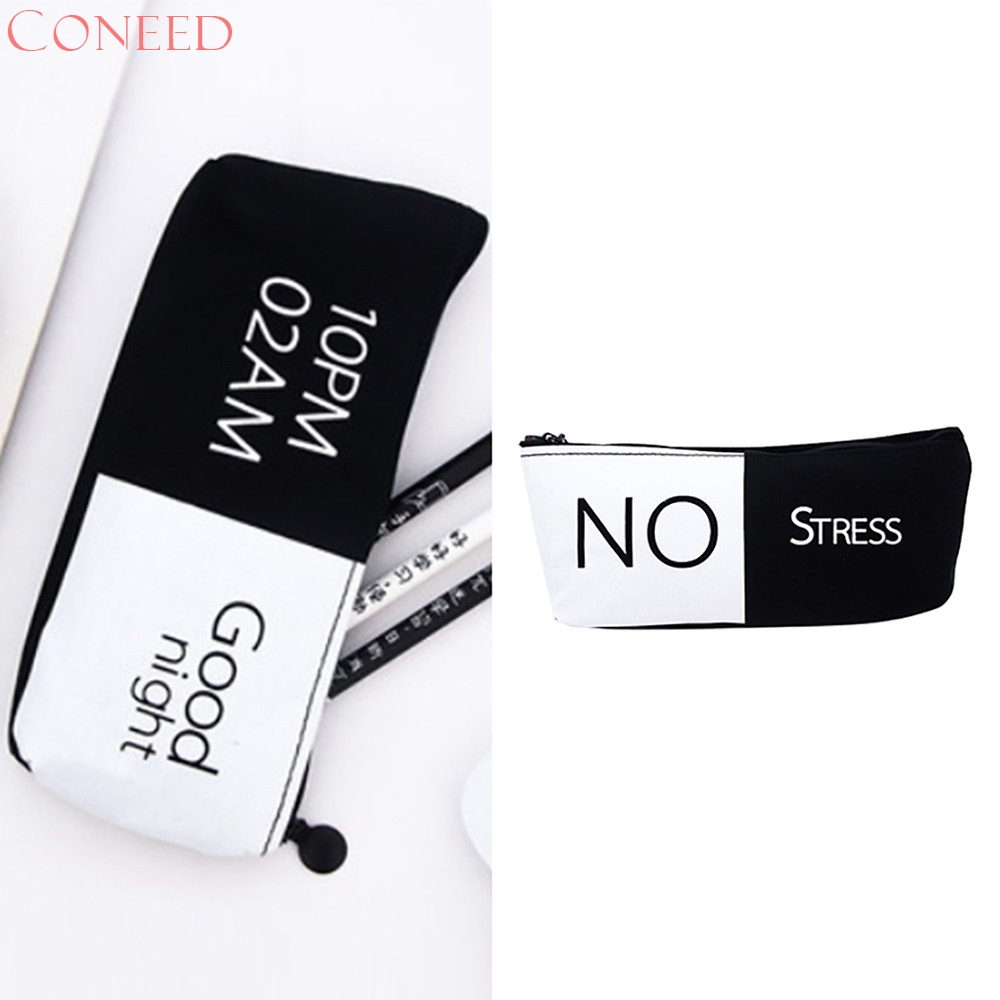 CONEED Drop Ship 2017 Hot Sale White Black Letter Large Capacity Pencil Bag Casual Student Canvas Zipper Storage Juy28 augusta drop ship all conference pullover maroon white s