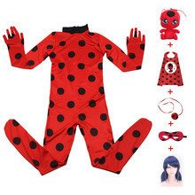 3-10 year hot Carnival Clothing Lady Bug Cosplay Sets Ladybug Halloween Christmas Party Custume Kids Marinette Girls Suit Spot