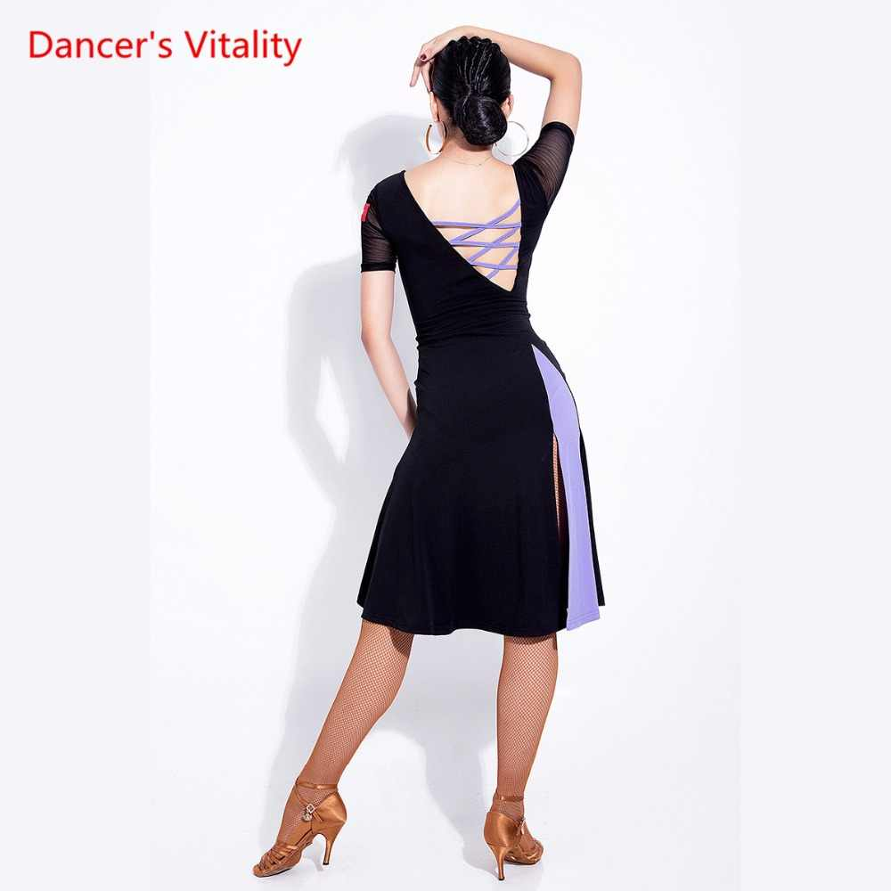 287a959c8 ... New Latin Dance Dress Sexy Senior Gauze Split Latin Dance Costumes For Women  Latin Ballroom Dance ...