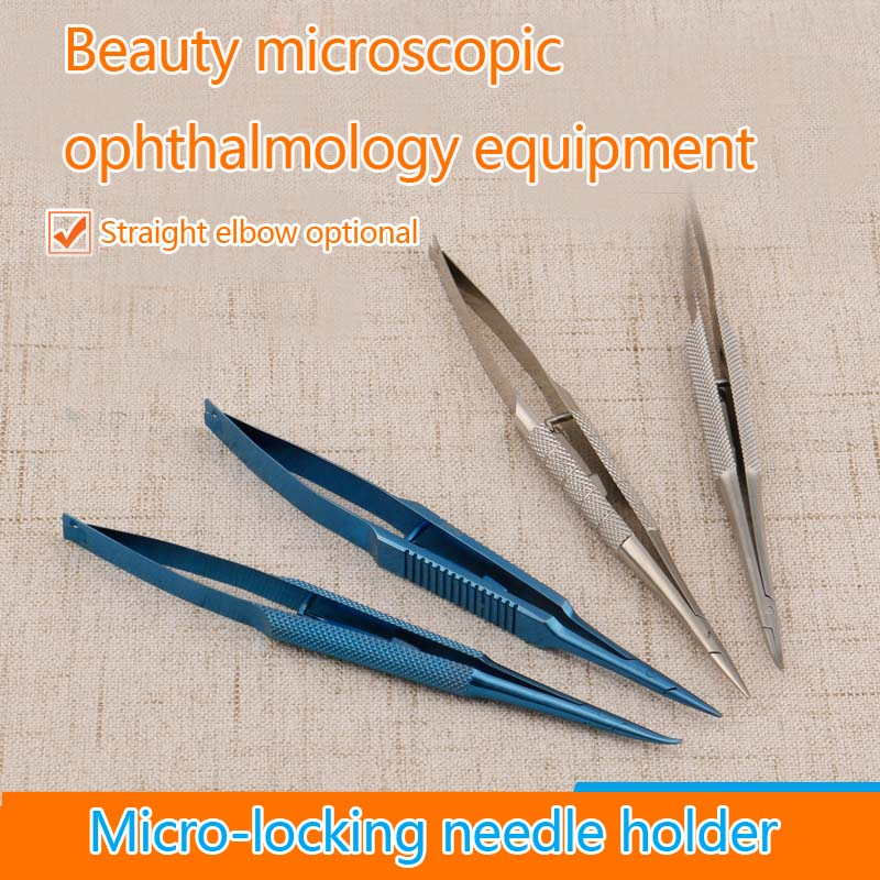 все цены на Ophthalmic surgical 4pcs Straight/curved Needle Holder with lock titanium/Stainless steel ophthalmic instruments