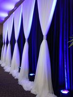 10ft x 20ft Ice Silk & Chiffon Backdrop for Wedding Decoration royal blue with white Wedding Curtain with Chiffon Valance