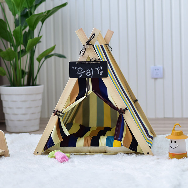Hotsale Wooden Pet tent Dog house Stripe Foldable Pet House Tent Wood Kennel Puppy Love Dog Cat Bed House with Cushion ped LD017