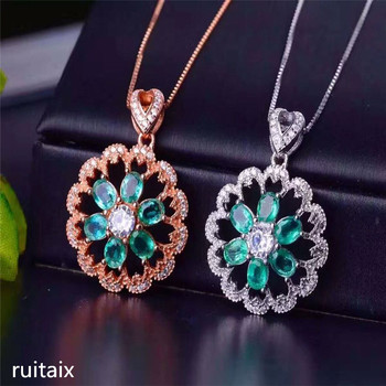 KJJEAXCMY boutique jewels  S925 Pure silver natural emerald necklace inlay jewelry female sunflowers gemstone pendant chrysanthe