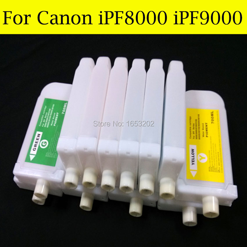 12 Color/Set 700ML Refillable Ink Cartridge For Canon PFI-701 For Canon iPF9000/8000 Printer 5 color set refillable ink cartridge for canon pfi 705 for canon ipf810 ipf815 ipf820 ipf825 printer with chip