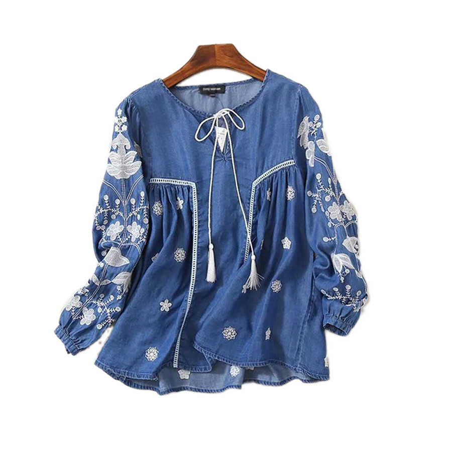 2020 New Fashion Spring Casual Denim Shirt Women Lace Up Lantern Sleeve Ethnic Vintage Embroidery Blouse Tops Blusa Feminina