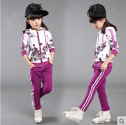 Kids spring 2016 new big virgin girls sports suit baby autumn two-piece casual long-sleeved clothes for girls 3-12 years old