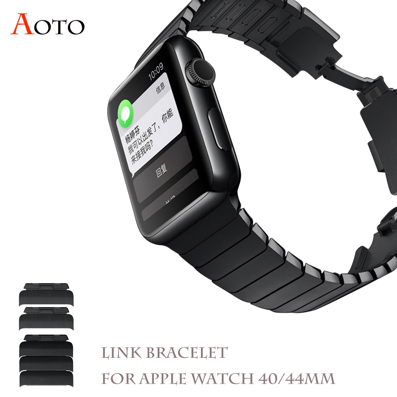 Link Bracelet bands For Apple watch 4 40mm 44mm Adjustable press to detach Link Strap Apple Watch 3 2 1 38mm 42mm black Silver