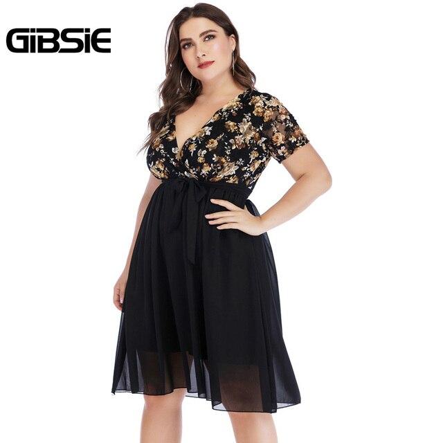 GIBSIE Wrap V Neck Short Sleeve Floral Print Chiffon Dress with Belt Summer Women Elegant Plus Size Knee Length Party Dress 4