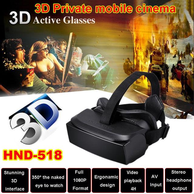 """HMD-518 80 """"1080 P VR Realidade Virtual 3D Óculos de Vídeo HD Cinema Móvel Privada"""