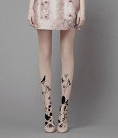 Elegant Pastoral Painting Of Flowers And Printed Silk Stockings Fake Tattoo Tattoo Pantyhose