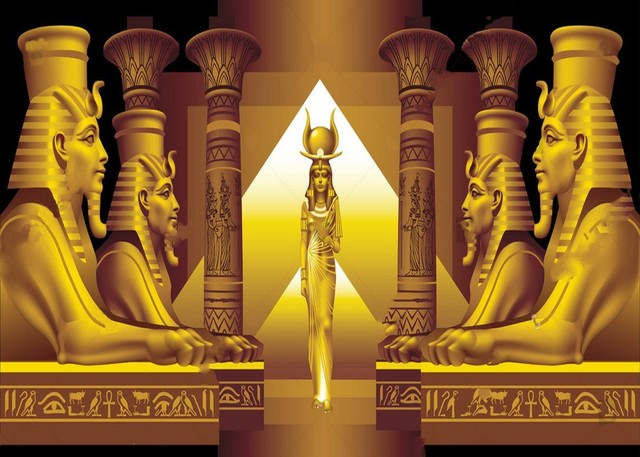 Egyptian Queen Sphinx Gold Black Party Themed Backdrop