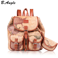 Fashion vintage high quality world map backpack women backpack leather backpack printing backpack