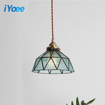Modern Country Pendant Lights Glass Japanese-style Pendant Lamp E27 Bedside Aisle Kitchen Home Decorate hanging light fixture