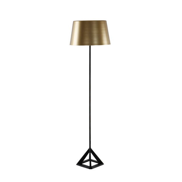 Simple Modern Floor Light Gold Color Metal Nordic Triangle Iron Table Lamp Office Bedside Desk