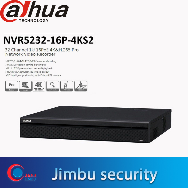 Dahua NVR 32CH NVR5232 16P 4KS2 1U Pro Network Video Recorder 4K H 265 Up to