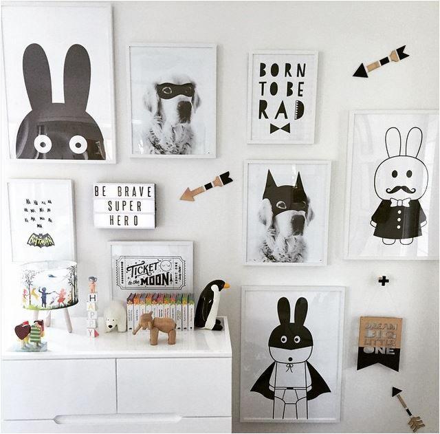 Новые декоративные фотографии плакат искусство для детская комната детская живопись черный и белый бэтмен/банни плакаты и печатает Кадр не включают
