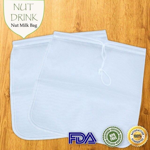 2PCS Reusable Food Fruit Filter Bag Nut Milk Bag Squeeze Juice Grid Mesh Filter Sieve Raw Soup FDA Food Grade 11.8 x 11.8 inch