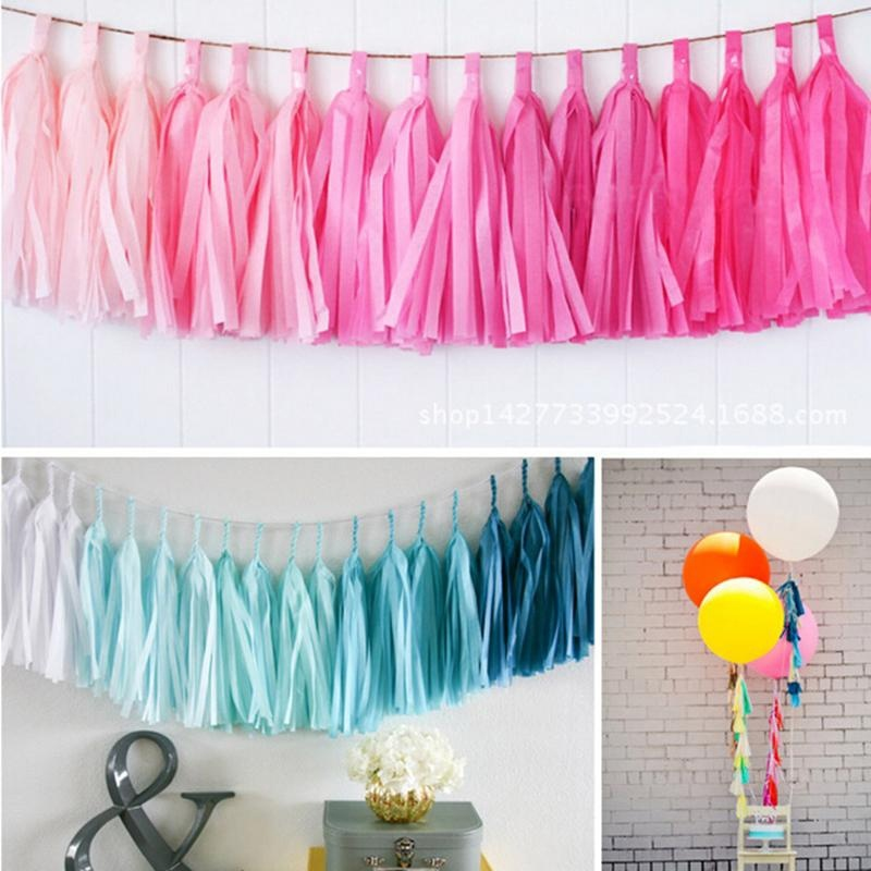 Us 1 15 11 Off 5 X Tissue Tassel Garland Paper Banner Party Supplies Diy Kits Wedding Bunting Nursery Decor Baby Shower Party Decoration In Party