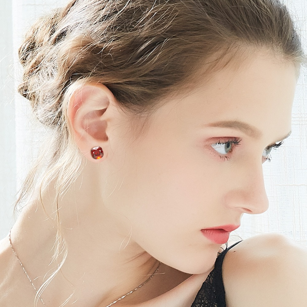 CDE 925 Sterling Silver Earrings Square Embellished with crystals Stud Earrings Women Earrings Womens Jewellery CDE 925 Sterling Silver Earrings Square Embellished with crystals Stud Earrings Women Earrings Womens Jewellery