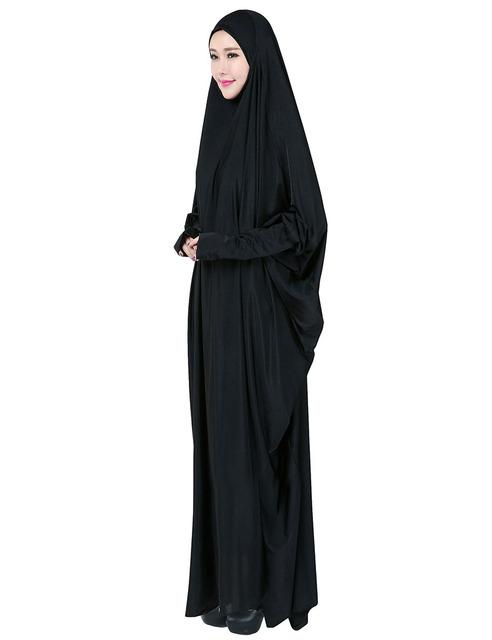 La Mujer musulmana Arabe Jibab y Túnica Abaya Musulmán Negro Batwing Manga moda Mujer Plus tamaño de la Ropa Islámica