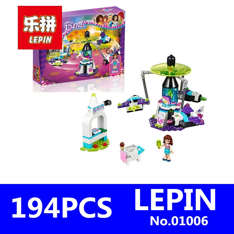 Girl Friend Amusement Park Space Ride Building Blocks Set LEPIN 01006 194Pcs Kids Bricks Model Gift Toys for Children Compatible lepin 22001 pirate ship imperial warships model building block briks toys gift 1717pcs compatible legoed 10210