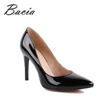 Bacia Пояса из натуральной кожи Летняя обувь черный Высокие каблуки Для женщин классический 9.5 см туфли-лодочки на тонком каблуке с острым носком модная обувь для вечеринок VB001