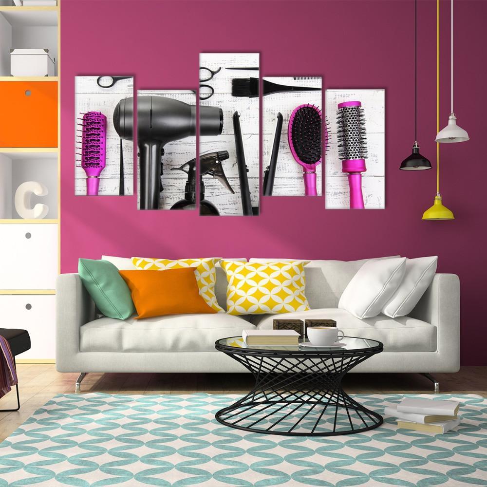 Wall Decor Shops: HD 5 Piece Canvas Wall Art Hair Dryer Machine Comb
