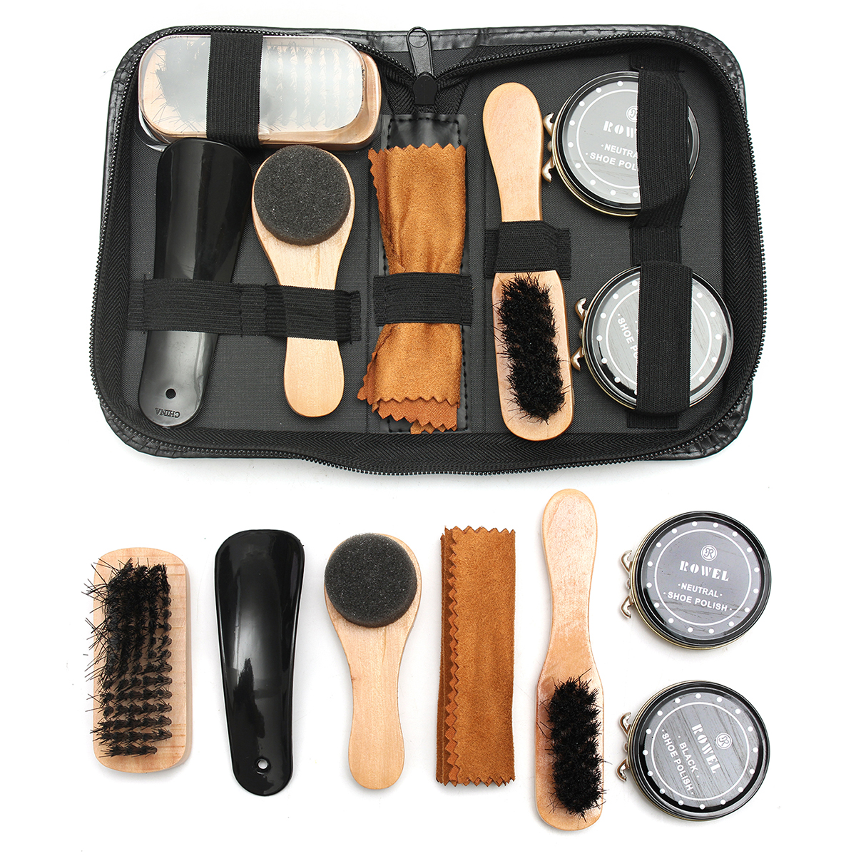 8 IN 1 Shoe Polish Brush Set Clean Shine Care Kit for Boots Shoes Sneaker