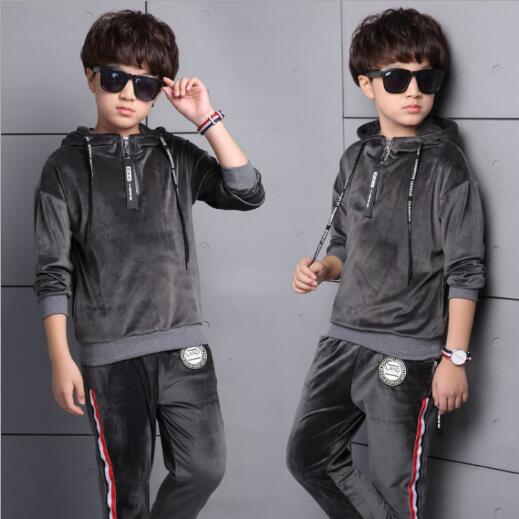 School Boys Clothing Sets Velvet Long sleeve Sports Suits For Boys Hoodies & Pants Casual Autumn Children Tracksuits wholesale new fashion autumn casual sport suits tracksuits for kids gold chain printing hip hop outwear boys clothing sets
