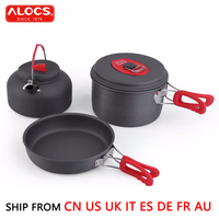 ALOCS 2 3 People Outdoor Cookware anti skid Camping Picnic Non Stick Cooking Set 1.4L Kettle +7.5' Fry Pan +2.2L Pot CW C19T