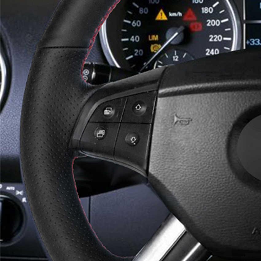 Preto PU Couro Falso DIY Mão-costurado Tampa Da Roda de Direcção Do Carro para Mercedes Benz W164 M-Classe ML350 ML500 X164 GL-Classe GL4
