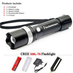 Powerful LED Flashlight CREE XM-T6 Lantern Rechargeable Torch Zoomable Waterproof AAA /18650 Battery Hand Light linterna Camping