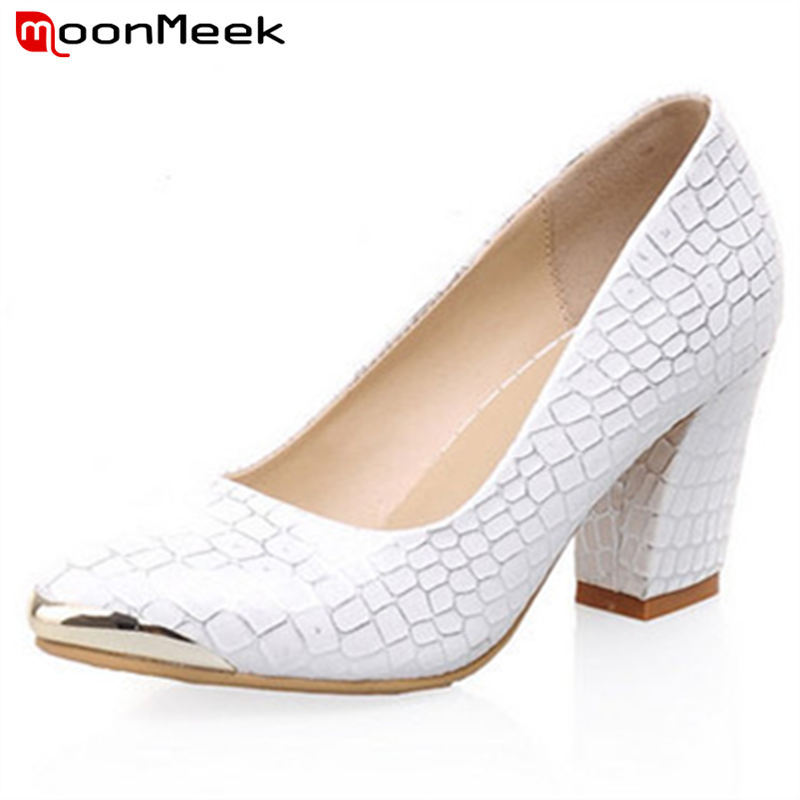 MoonMeek Fashion sexy pointed toe plus size 34-40 square high heels women pumps high quality sequined wedding shoes women