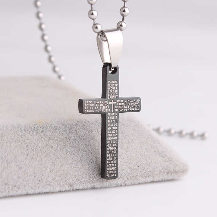 free shipping Black Small cross Holy Bible Stainless Steel pendant necklaces for men women wholesale