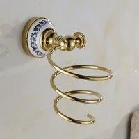 Фен держатель Полки для ванной золотой латуни настенный держатель фена Ванная комната волосы стойку Аксессуары для ванной комнаты xe3381