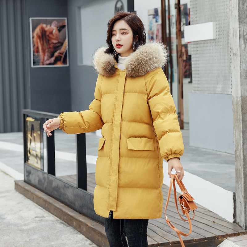 Wadded Cotton Women Coat Winter New Thick Long Hooded Fur Collar Cotton Padded Warm Raccoon Fur Solid Color Mujer Parkas MZ3131