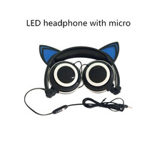 Free shipping Foldable Flashing Glowing cat ear headphone LED headphones microphone Gaming Headset Earphone with LED light