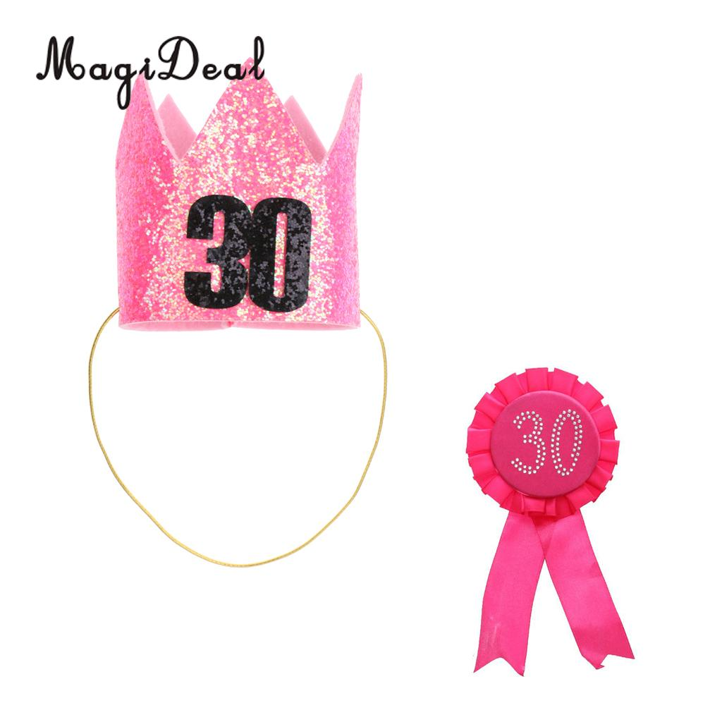 Adult 30th Birthday Crown Hat Headband Award Ribbon Rosette Badge Brooch Party Favour Age