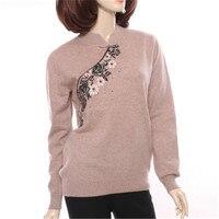 Новые модные 100% козья кашемир воротник стойка из трикотажа женщин вышивать сладкий тонкий пуловер свитер Бордовый 2 вида цветов S 2XL