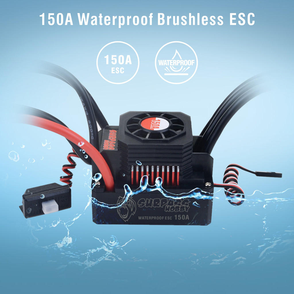 Waterproof Sensorless Brushless ESC 150A Speed Controller for 1 8 RC Car Buggy