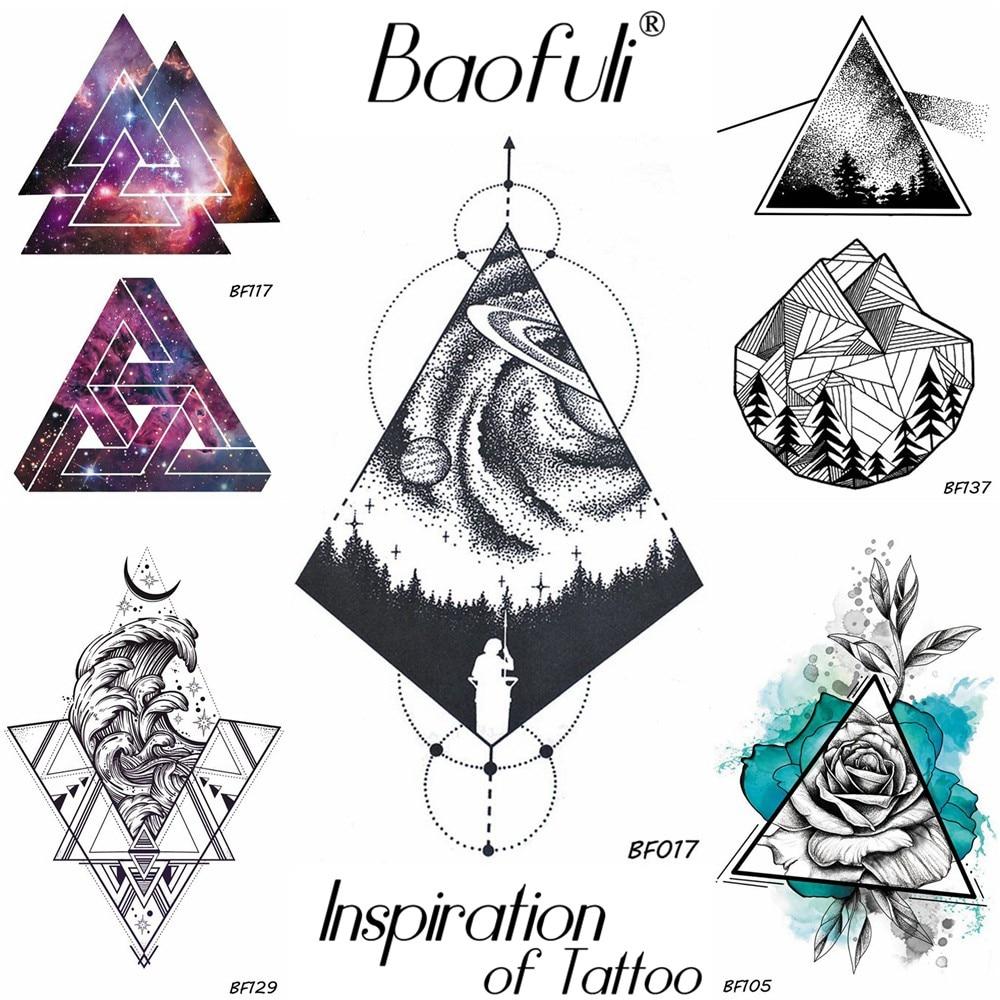 BAOFULI Men Temporary Geometry Tattoo Black Galaxy Forest Waterproof Rhomboid Fake Tattoo Body Arm Drawing Stars Tatoos Stickers