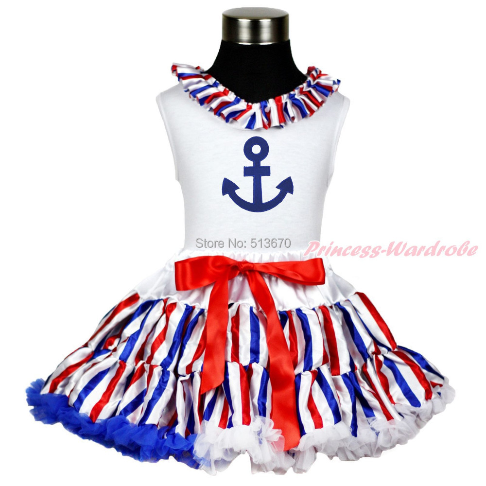 Sailor Anchor Print White Top Shirt Red White Blue stripe Pettiskirt Baby Girl Outfit Costume Set 1-8Y MAPSA0088 4th july america flag style stripe pettiskirt white ruffle tank top 2pc set 1 8year mamg1143