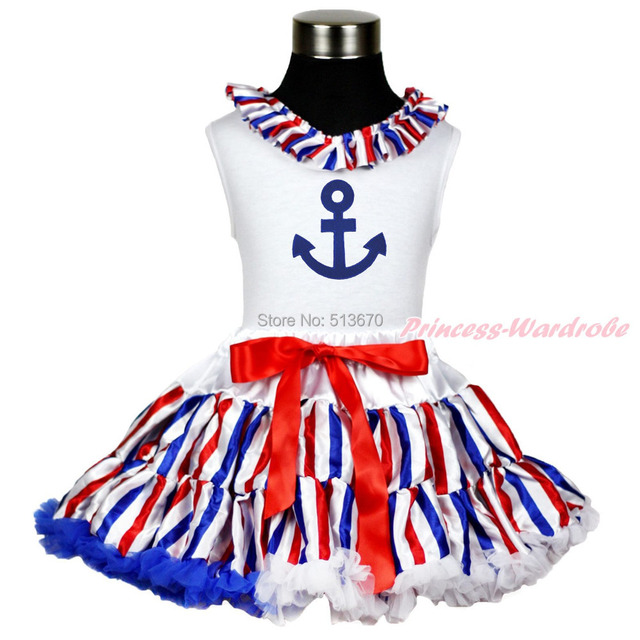 06483751f20b Sailor Anchor Print White Top Shirt Red White Blue stripe Pettiskirt ...