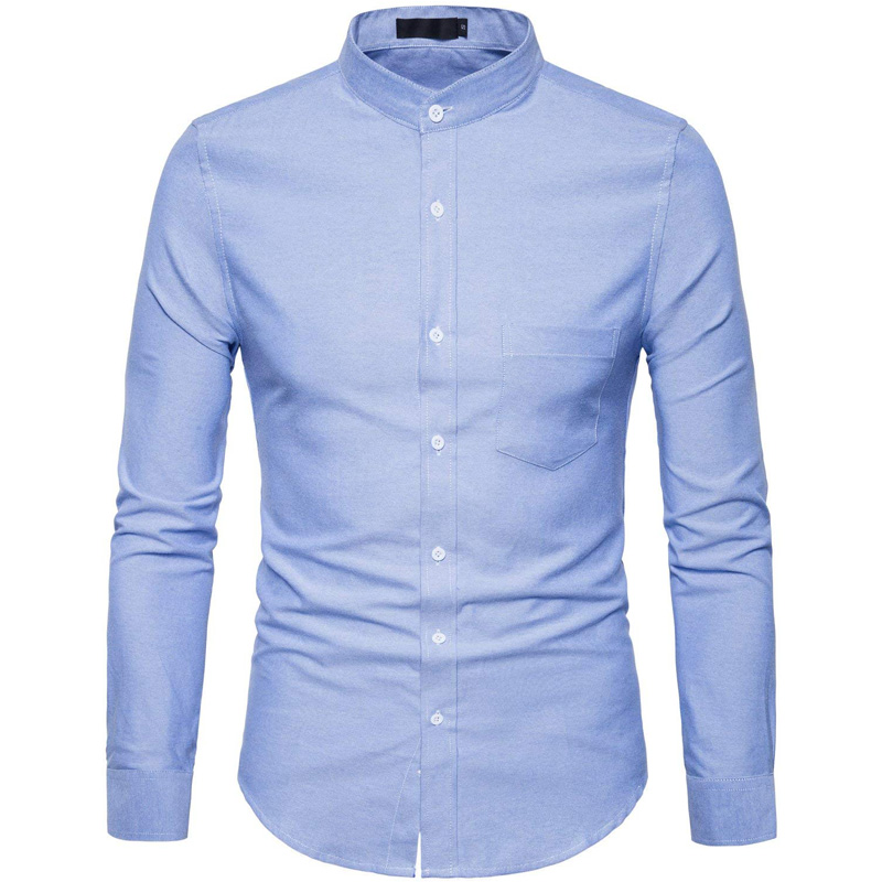 Oxford Cotton Shirt Men 2018 Spring Casual Slim Fit Stand Collar Mens Dress Shirts Long Sleeve Solid Chemise Homme Army Green