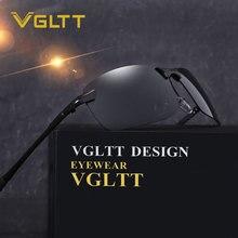 VGLTT Polarized Classic Men Sunglasses Brand designer Rimless Square Sun glasses Fashion UV400 Mirror Male Driving Sport Women