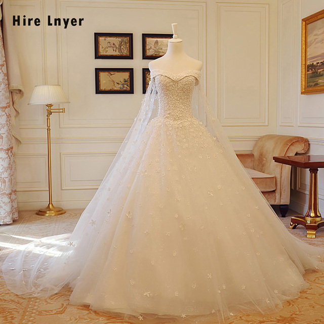 HIRE LNYER Sweetheart Lace Up Chapel Train Flowers Pearls China ...